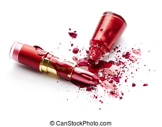 Nail polish, eye shadow and lipstick - Red nail polish,...