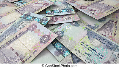 Scattered Banknote Pile - A macro close-up view of a messy...