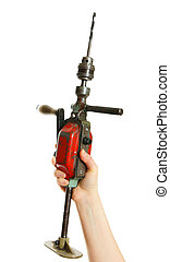 Drill in a hand on white background.