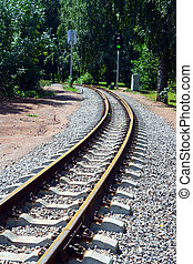 narrow-gauge curve railway and semaphore