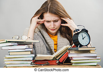 girl student with glasses reading books - funny crazy girl...