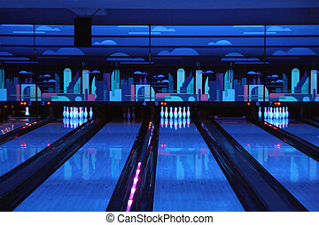 bowling playing hall - dark blue bowling playing hall