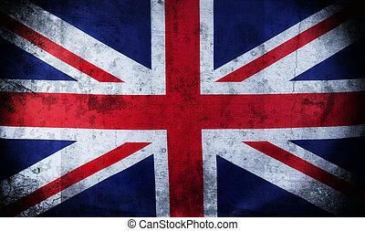 grunge, förening, flagga, brittisk,  UK,  jack, gammal