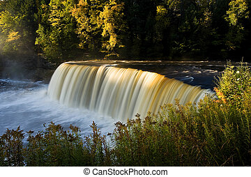 Michigan Waterfall In Autumn