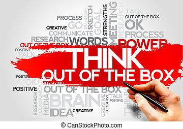 pensar, afuera, de, el, caja,