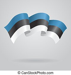 Estonian waving Flag Vector illustration Eps 8