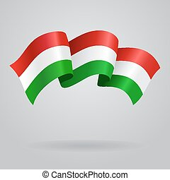 Waving Hungarian Flag. Vector illustration Eps 8.