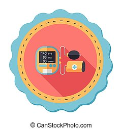 sphygmomanometer blood pressure flat icon with long...