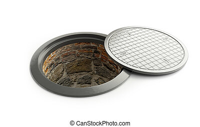 street manhole open on a white background