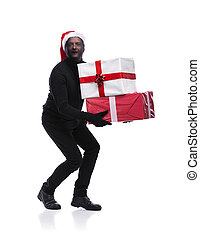 Thief in black mask - Thief in action carrying presents with...