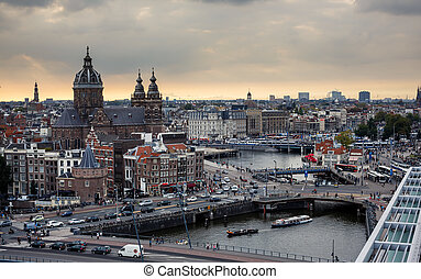 Aerial view of Amsterdam, Netherlands