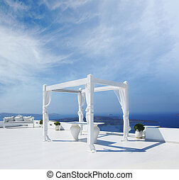 Beautiful wedding tent on Santorini island - Luxury wedding...