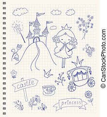 Fairy Tale Princess - Hand drawn fairy tale princess doodle...
