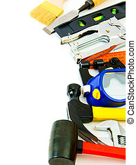 Many working tools - stapler, pliers and others on white...