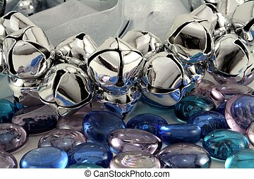 Silver Christmas Bells - Silver Christmas bells with blue...