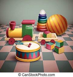 sätta, utsökt, färgrik,  toys