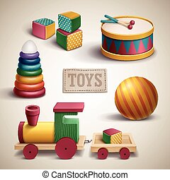 exquisite colorful toys set isolated over beige background