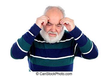 Elderly man with worried gesture