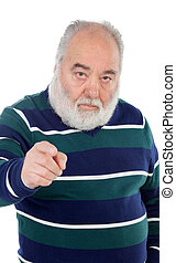 Senior men pointing at camera with his finger isolated on...