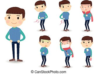 various sickness symptoms in cartoon style isolated over...