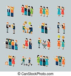 social activity isometric icon set isolated over blue...