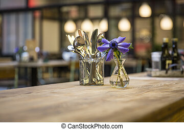 Table decoration restaurant with cutlery and spices