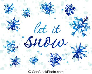 Watercolor snowflake card - Let It Snow Christmas card. Hand...