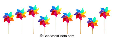 pinwheel - Several large colorful pinwheels against white...