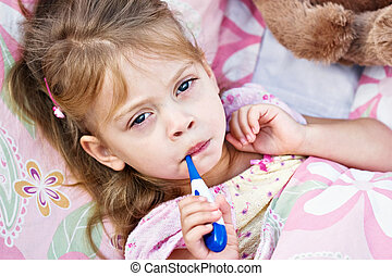 Ill Child with Thermometer - Little girl is not feeling well...