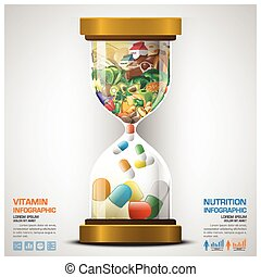 Vitamin And Nutrition Food With Sandglass Infographic Design...