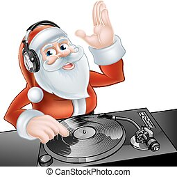 Cartoon DJ Santa - An illustration of cute cartoon Santa...