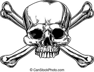 Skull and crossed bones drawing in a vintage woodcut style