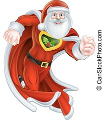 Cartoon Santa Claus Superhero