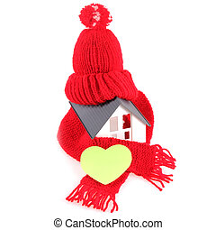 Wool Scarf Hat with Heart on Miniature Home