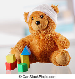 Bandaged Classic Teddy Bear with Various Shapes - Close up...