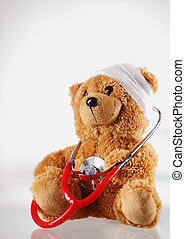 Conceptual Sick Teddy Bear with Stethoscope Device -...