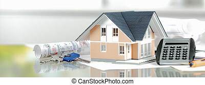 Miniature Home with Keys, Calculator and Blueprint - Real...