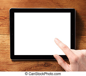 Finger Touching Digital Tablet with White Screen - Close up...