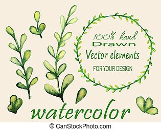 Set of watercolor branches.