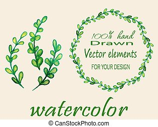 Set of watercolor branches. - Hand drawn vintage floral...
