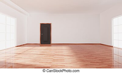 Empty room with window, door and parquet floor, room interior