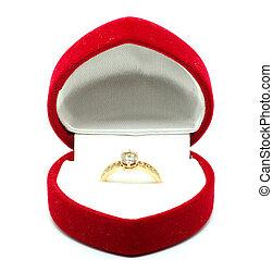 golden ring - Red velvet box with golden ring