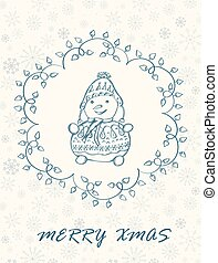 Marry Christmas Card with hand drawn snowman. Winter Holiday...