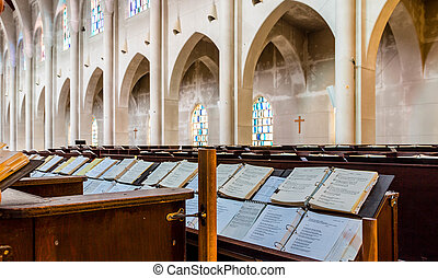 Hymnals and Arches in Church
