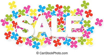 Spring or summer sale design with colorful flowers, vector