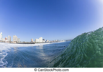 Wave Durban Beach Front - Ocean wave surfing swells with...