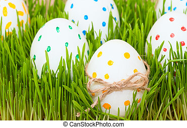 six easter eggs in spring grass