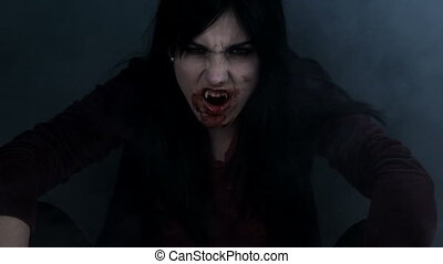 Beautiful female vampire thinking - Gorgeous vampire lady...
