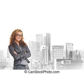 cidade, mulher, negócio, sobre, jovem, atraente, fundo