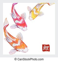 Japanese watercolor carps koi swimming. Calligraphic simbol....
